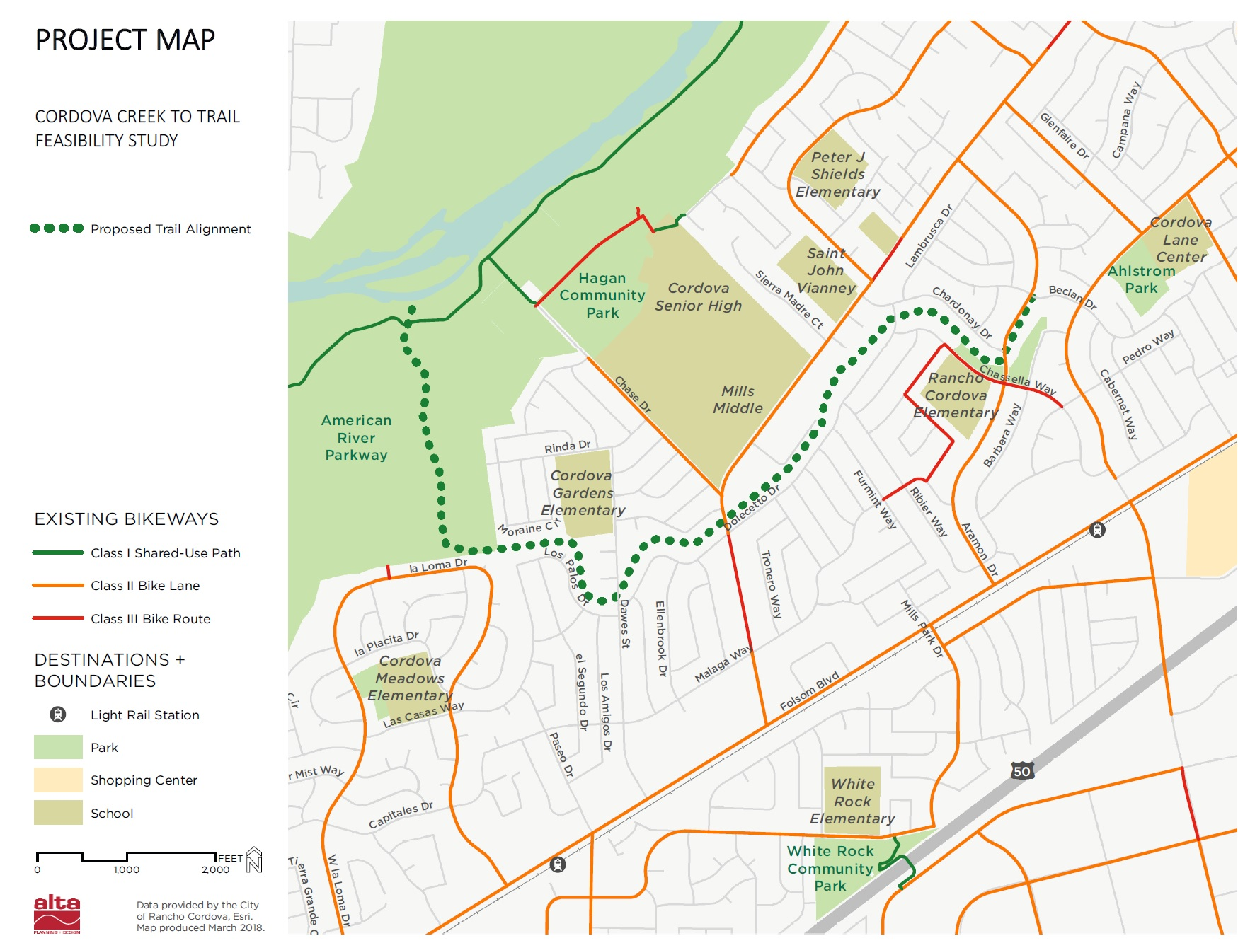 Project Map - Cordova Creek to Trail Feasibility Study